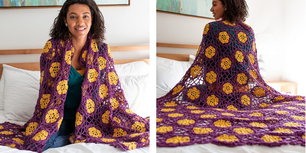 Floral African Violet Crochet Afghan [FREE Crochet Pattern] | thecrochetfox.com
