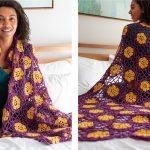 Floral African Violet Crochet Afghan [FREE Crochet Pattern]
