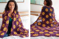 Floral African Violet Crochet Afghan [FREE Crochet Pattern] | thecrochetfox.com