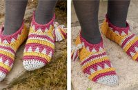 Alpine Sunset Crocheted Slippers [FREE Crochet Pattern] | thecrochetfox.com