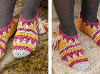 Alpine Sunset Crocheted Slippers [FREE Crochet Pattern] | thecrochetfox.com
