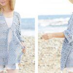 Blue Annabelle Crochet Long Jacket [FREE Crochet Pattern]