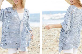 Blue Annabelle Crochet Long Jacket [FREE Crochet Pattern] | thecrochetfox.com