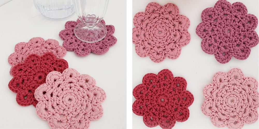 Blushing Crochet Coasters [FREE Crochet Pattern]   thecrochetfox.com