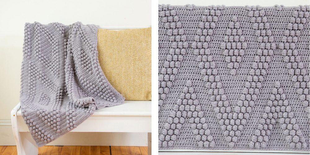Bobble Diamonds Crocheted Throw [FREE Crochet Pattern] | thecrochetfox.com