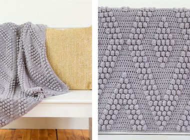 Bobble Diamonds Crocheted Throw [FREE Crochet Pattern] | thecrochetfox.com