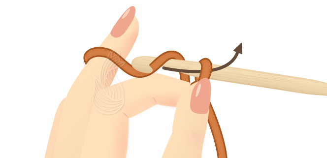 A woman's hand drawing the yarn through the slip knot on a crochet hook.
