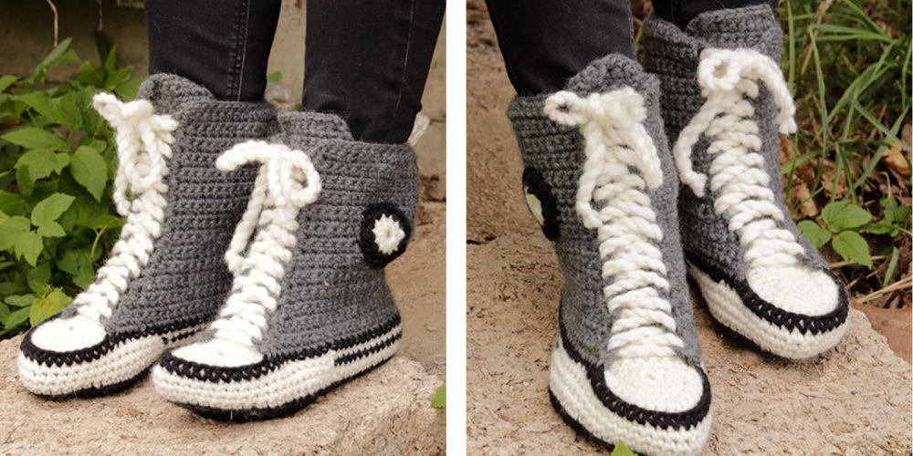 Cool Kicks Crocheted Slippers [FREE Crochet Pattern] | thecrochetfox.com