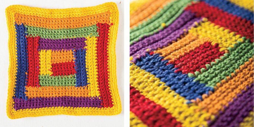Crochet Log Cabin Dishcloth [FREE Crochet Pattern]   thecrochetfox.com