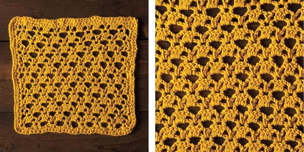 Golden Lattice Crochet Dishcloth [FREE Crochet Pattern] | thecrochetfox.com