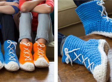 Hi-Top Crochet Slipper Socks [FREE Crochet Pattern] | thecrochetfox.com