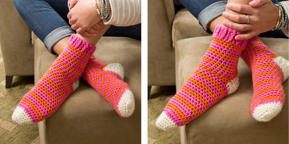 Cozy at Home Crochet Socks [FREE Crochet Pattern] | thecrochetfox.com