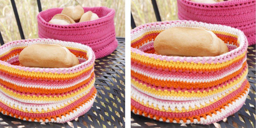 Lovely Al Fresco Crochet Bread Basket [FREE Crochet Pattern] | thecrochetfox.com