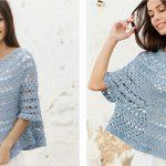 Crocheted Mermaid Shell Poncho Sweater [FREE Crochet Pattern]