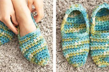 Quickie Crochet Slippers [FREE Crochet Pattern] | thecrochetfox.com