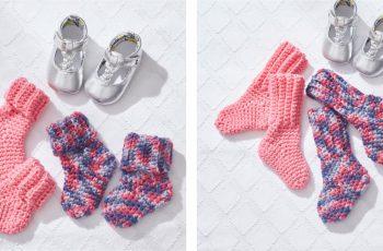 Red Heart Crocheted Baby Socks [FREE Crochet Pattern] | thecrochetfox.com