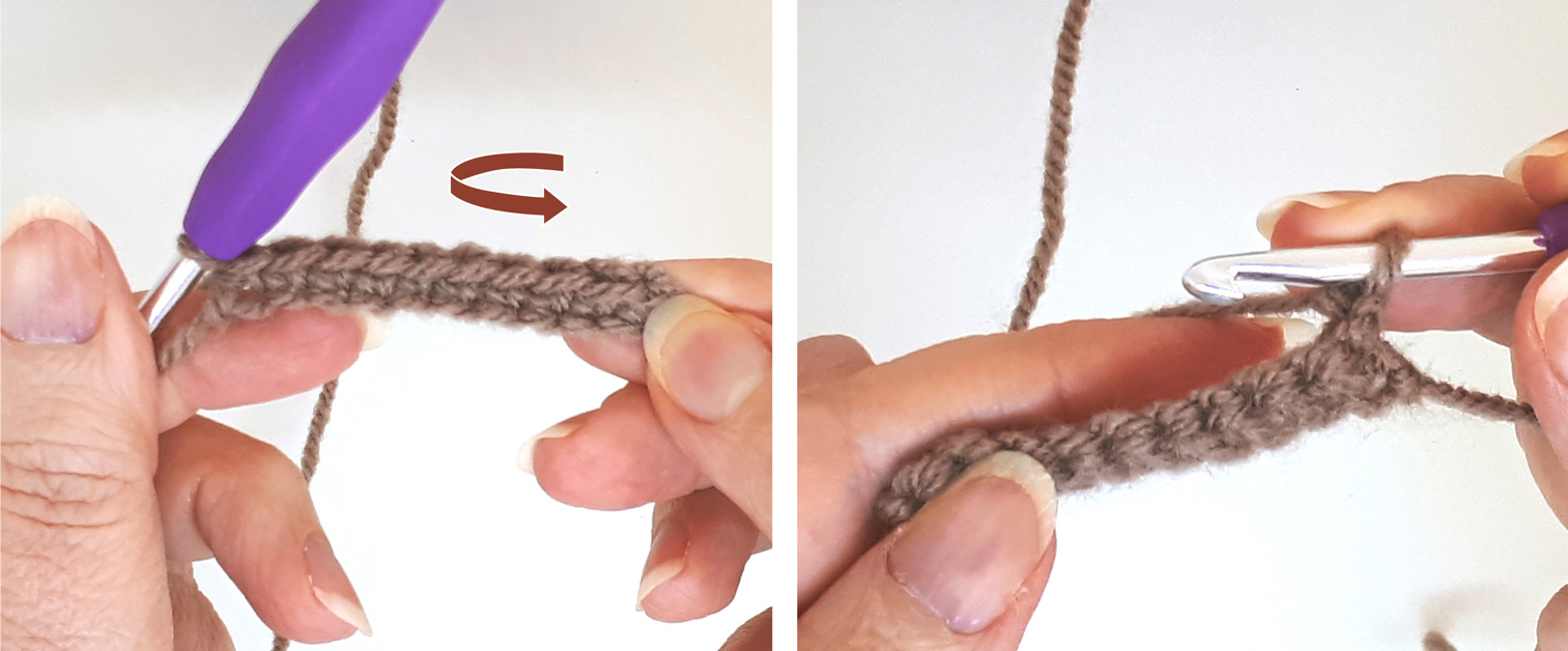 Close-up to a woman's hand crocheting and turning her work counterclockwise.