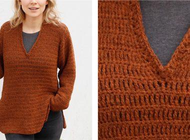 Rustic Roots Crochet V-Neck Sweater [FREE Crochet Pattern] | thecrochetfox.com