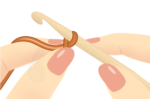 Tying a Crochet Slip Knot Step 4: Hand pinching a piece of orange yarn wrapped around a crochet hook