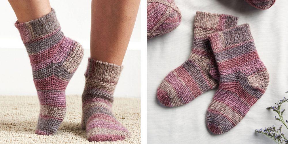 Crocheted Slip Stitch Cuff Socks [FREE Crochet Pattern] | thecrochetfox.com