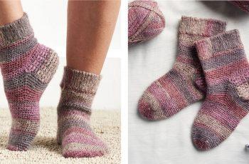 Crocheted Slip Stitch Cuff Socks [FREE Crochet Pattern]   thecrochetfox.com