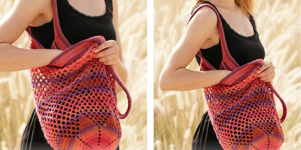 Cheery Sunset Shopper Crochet Bag [FREE Crochet Pattern] | thecrochetfox.com