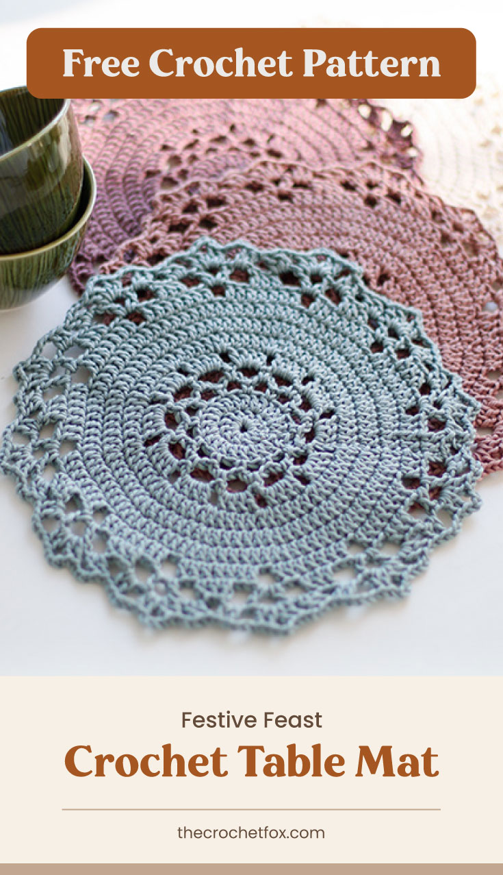 """Text area which says """"Free Crochet Pattern"""" next to a several lace crochet circular matts followed by another text area which says Festive Feast Crochet Table Mat,thecrochetfox.com"""""""