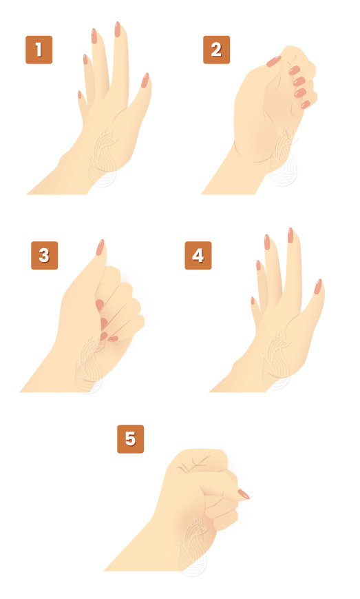 Hands doing the four key steps of the Hands Tendon Glides exercise for crocheters.
