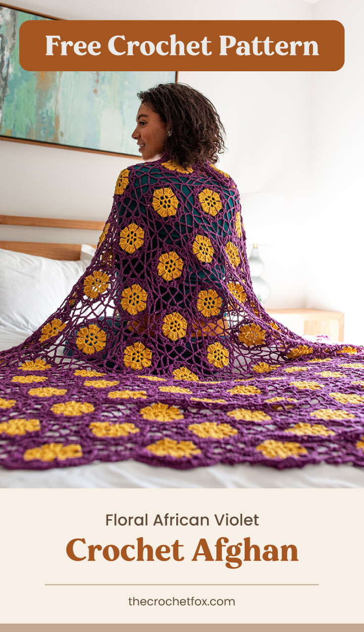 "Text area which says ""Free Crochet Pattern"" next to a back-facing woman wrapped on a purple and yellow floral lace crochet blanket followed by another text area which says ""Floral African Violet Crochet Afghan, thecrochetfox.com"""