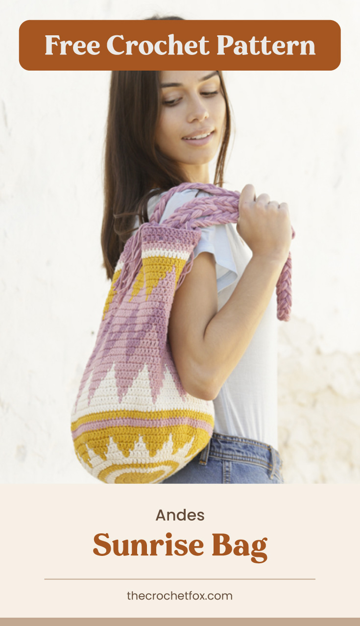 """Text area which says """"Free Crochet Pattern"""" next to a woman carrying a crochet drawstring bag over her shoulder followed by another text area which says """"Andes Sunrise Bag, thecrochetfox.com"""""""