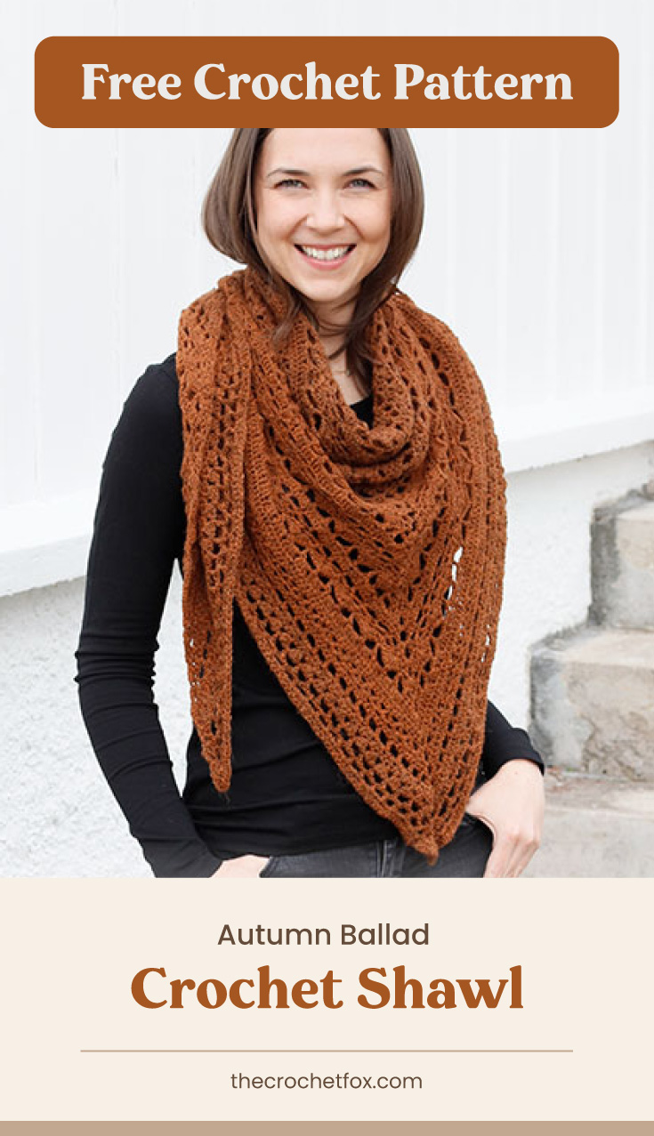 """Text area which says """"Free Crochet Pattern"""" next to woman wearing a burnt orange crochet shawl as a scarf followed by another text area which says Autumn Ballad Crochet Shawl , thecrochetfox.com"""""""