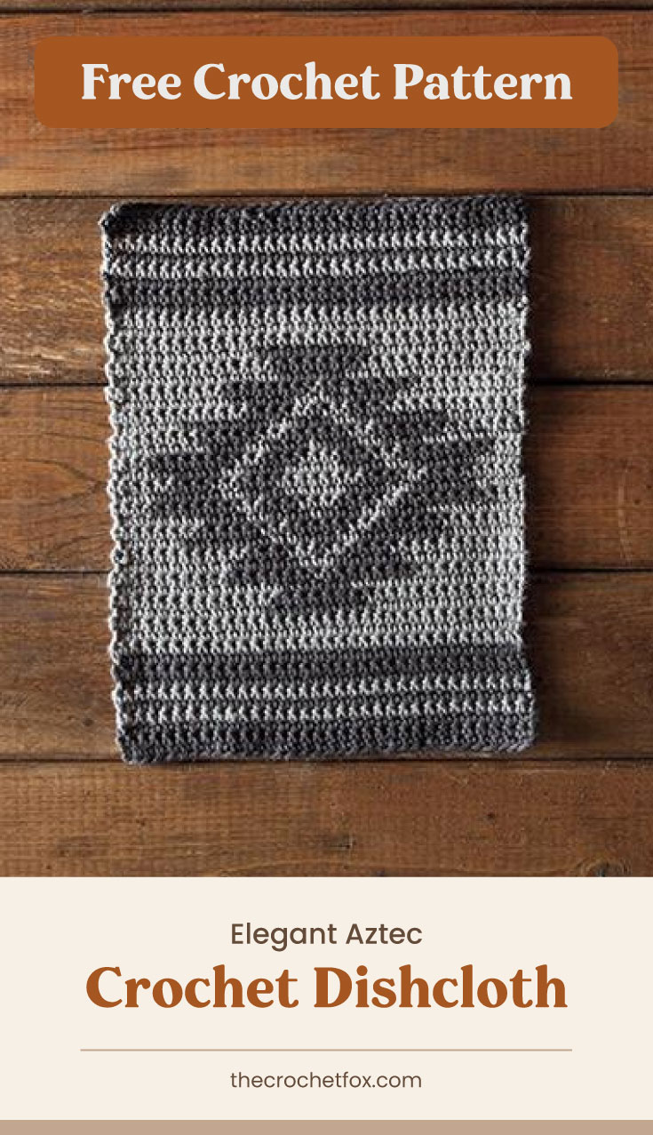 """Text area which says """"Free Crochet Pattern"""" next to a monochrome crochet dishcloth on a wooden surface followed by another text area which says """"Elegant Aztec Crochet Dishcloth, thecrochetfox.com"""""""