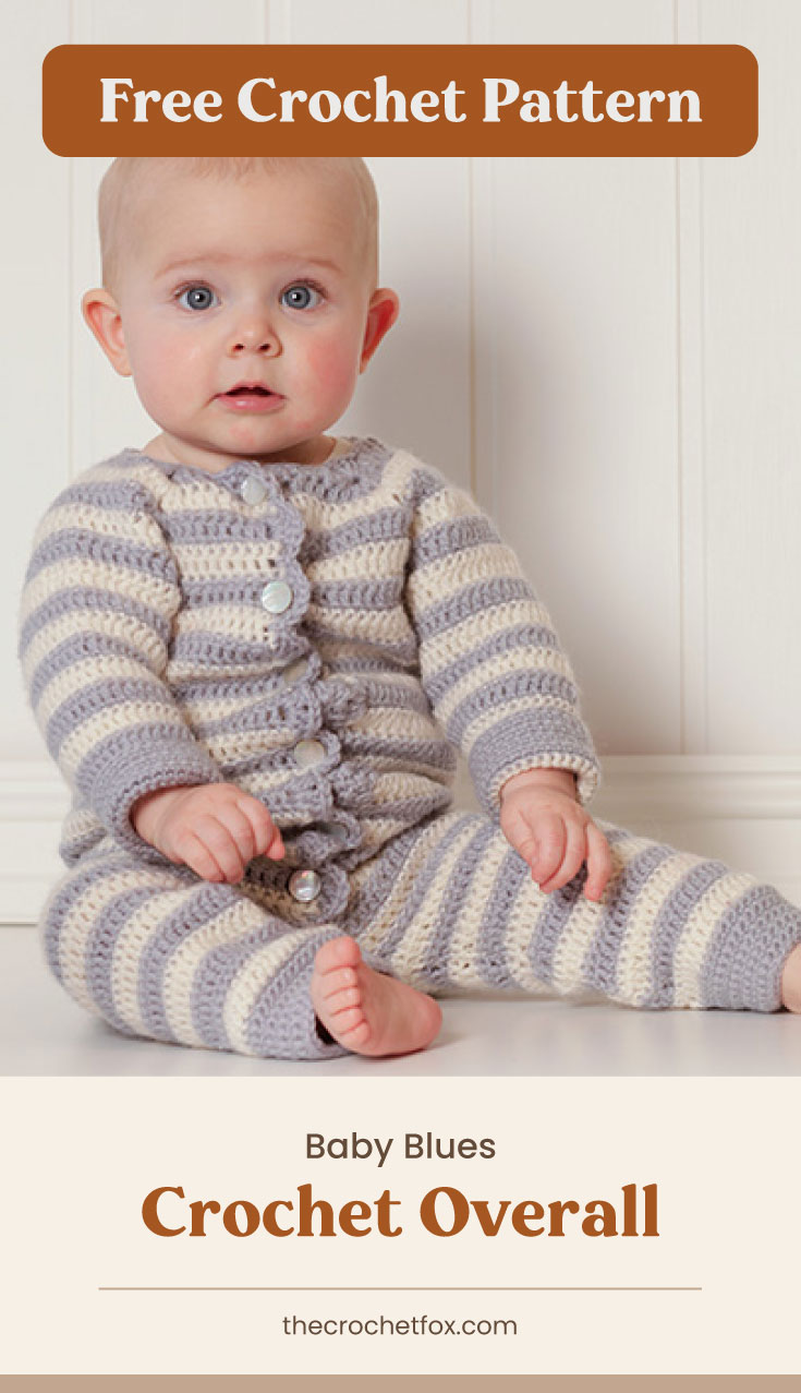 """Text area which says """"Free Crochet Pattern"""" next to a baby sitting on the floor while wearing a striped crocheted onesie followed by another text area which says """"Baby Blues Crochet Overall, thecrochetfox.com"""""""