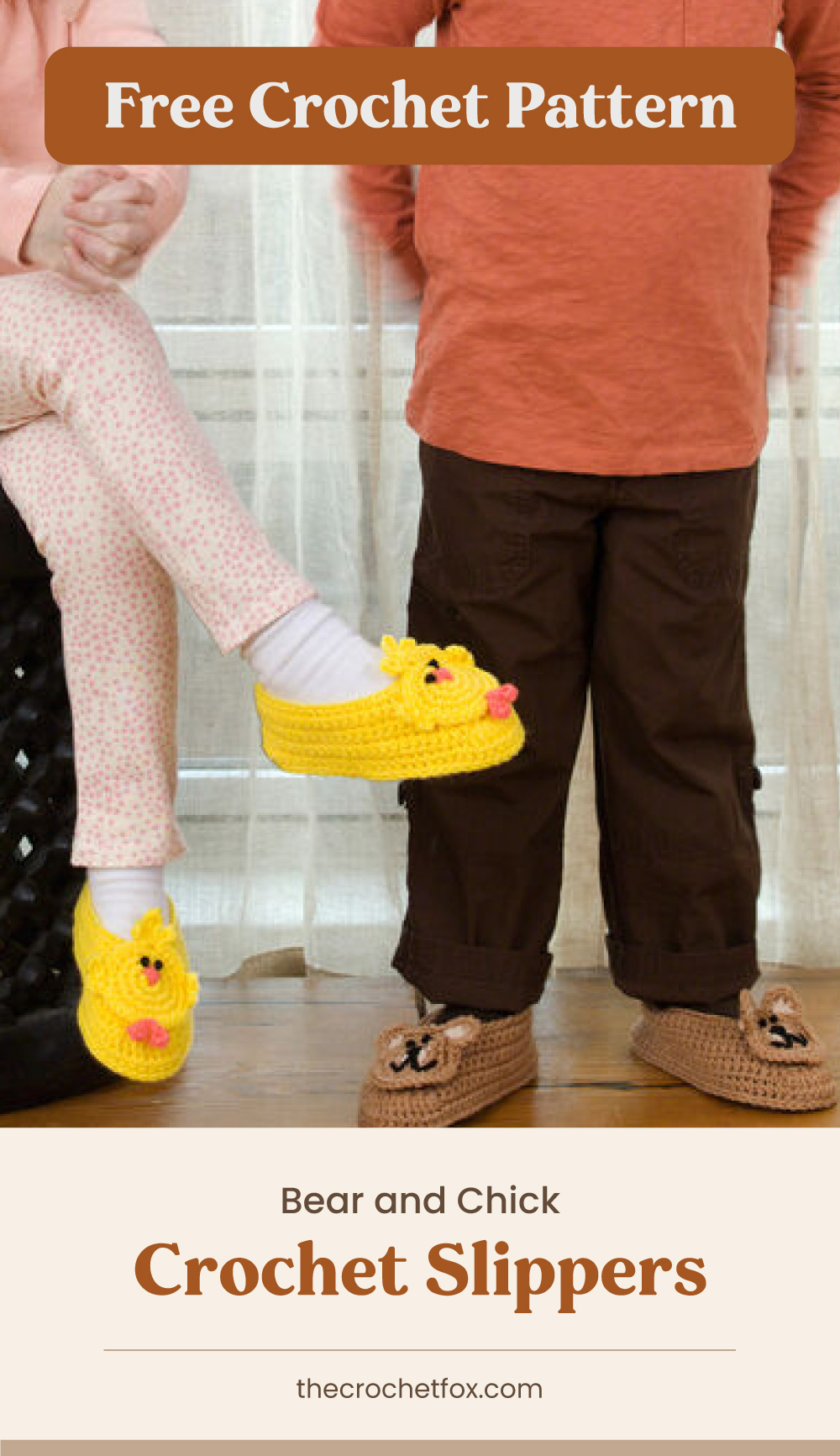"""Text area which says """"Free Crochet Pattern"""" next to close-up of two pairs of bear and chick-inspired crochet slippers worn by little kids followed by another text area which says """"Bear and Chick Crochet Slippers, thecrochetfox.com"""""""