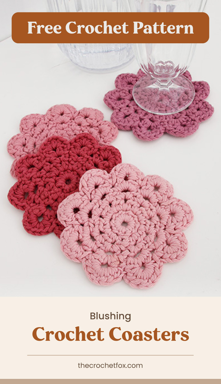 """Text area which says """"Free Crochet Pattern"""" next to four crochet flower-shaped coasters followed by another text area which says """"Blushing Crochet Coasterst, thecrochetfox.com"""""""