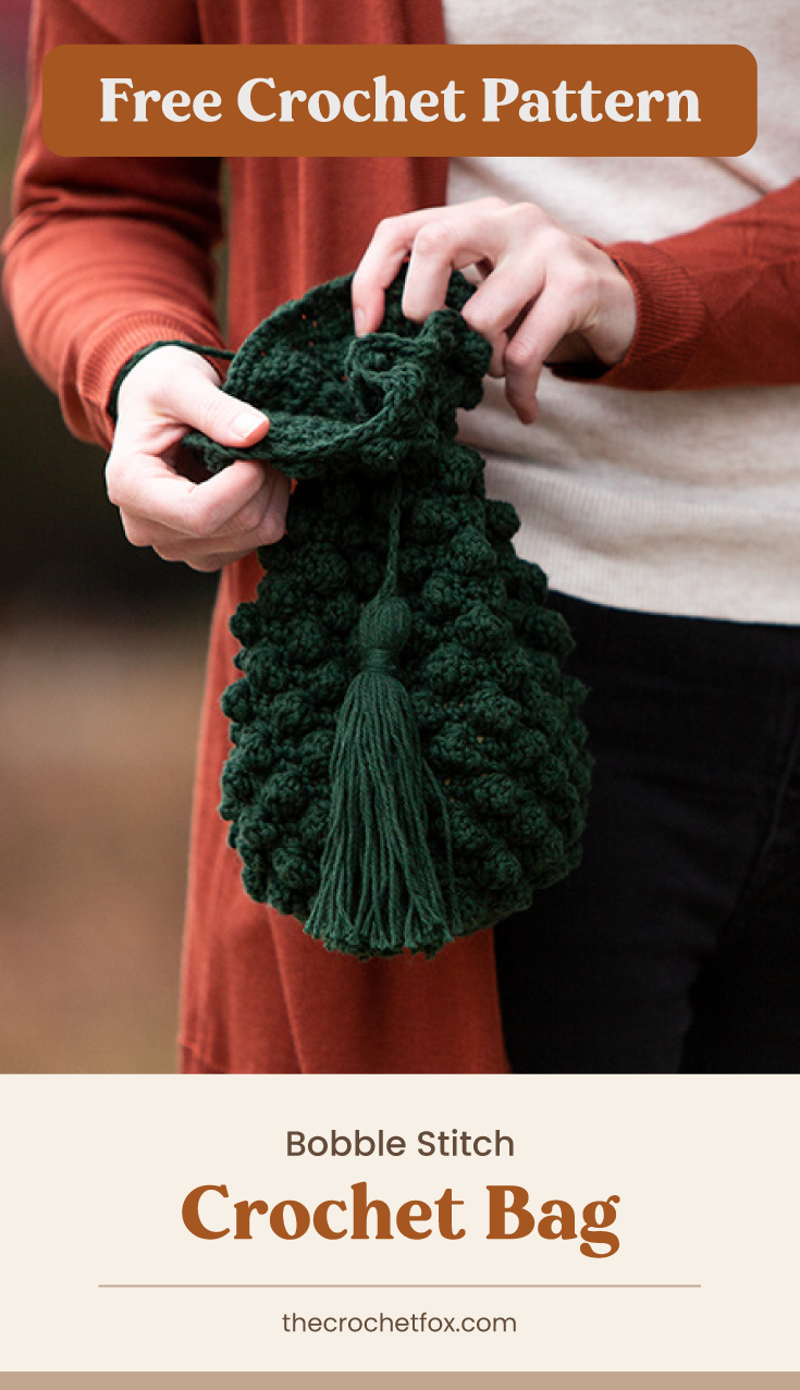 """Text area which says """"Free Crochet Pattern"""" next to a close-up to a small green crochet bag being held by a woman followed by another text area which says """"Bobble Stitch Crochet Bag, thecrochetfox.com"""""""