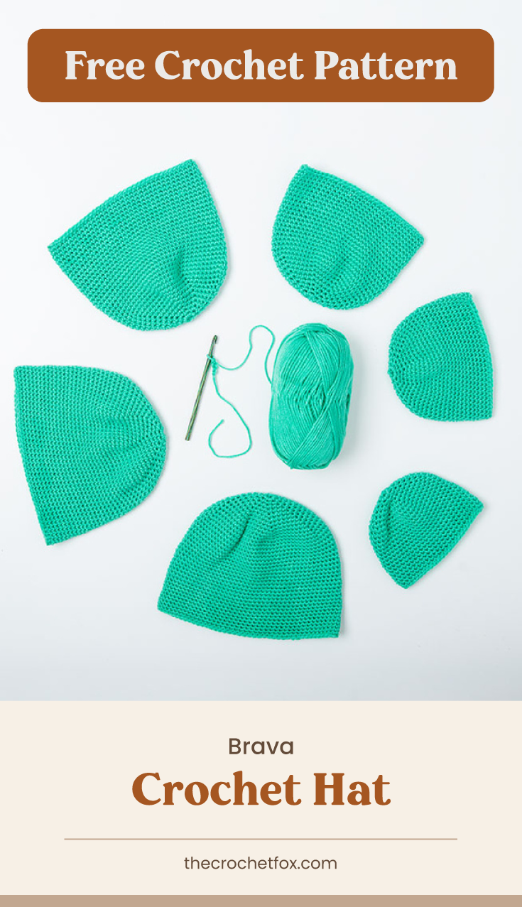 "Text area which says ""Free Crochet Pattern"" next to several teal crochet hats surrounding a skein of teal yarn followed by another text area which says ""Brava Crochet Hat,thecrochetfox.com"""