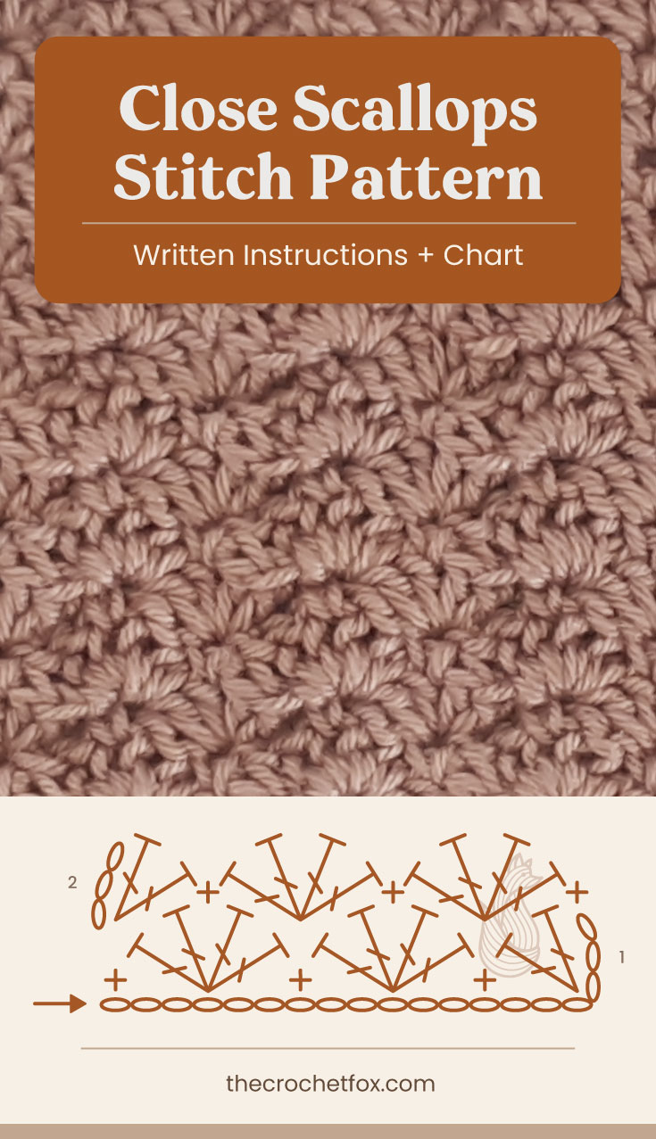 """Text area which says """"Close Scallops Stitch Pattern, Written Instructions + Chart"""" followed by a brown crochet fabric and a crochet chart and text which says """"thecrochetfox.com"""""""