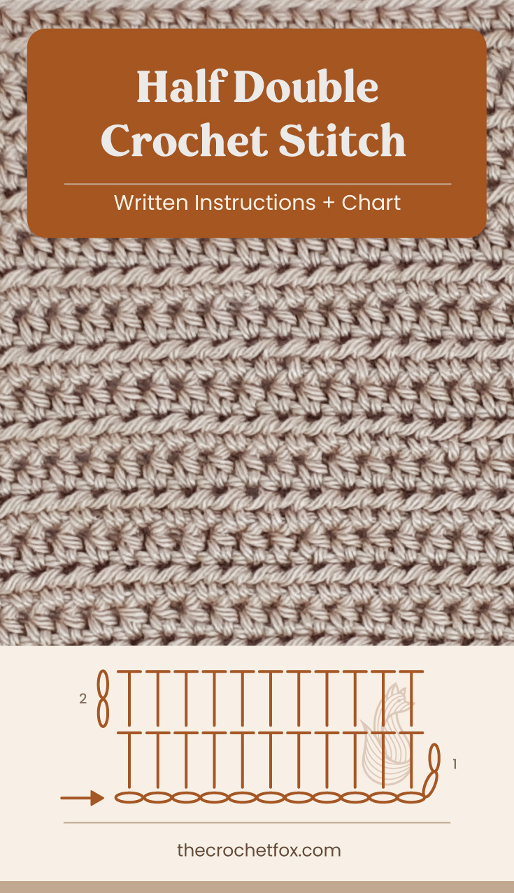 """Text area which says """"Half Double Crochet Stitch, Written Instructions + Chart"""" followed by a brown crochet fabric and a crochet chart and text which says """"thecrochetfox.com"""""""