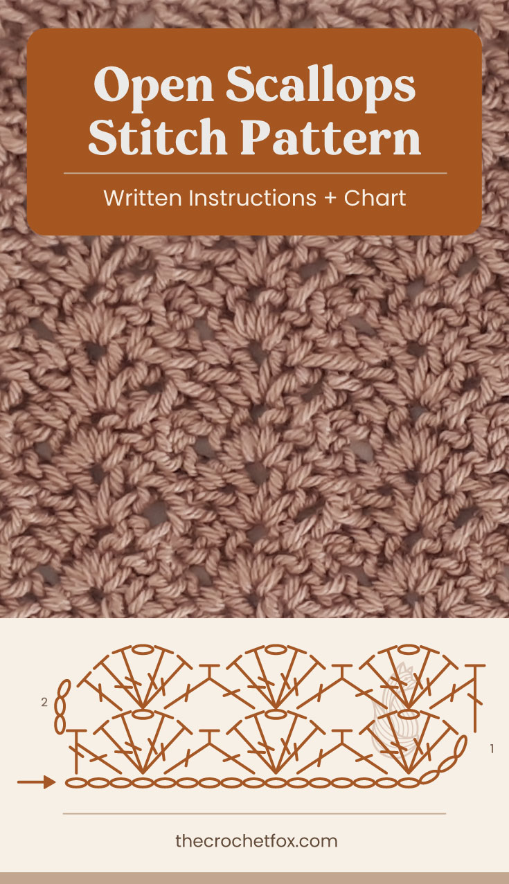 """Text area which says """"Open Scallops Stitch Pattern, Written Instructions + Chart"""" followed by a brown crochet fabric and a crochet chart and text which says """"thecrochetfox.com"""""""