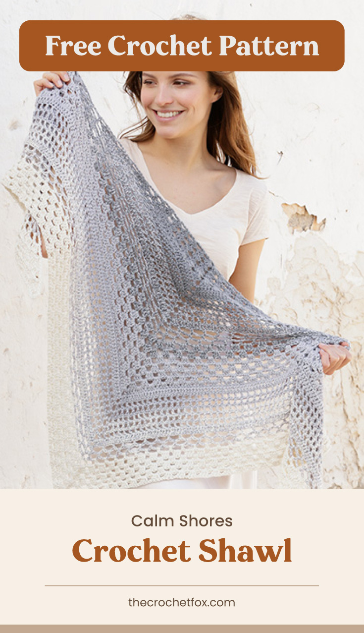 """Text area which says """"Free Crochet Pattern"""" next to woman holding up a crocheted lace shawl followed by another text area which says """"Calm Shores Crochet Shawl, thecrochetfox.com"""""""