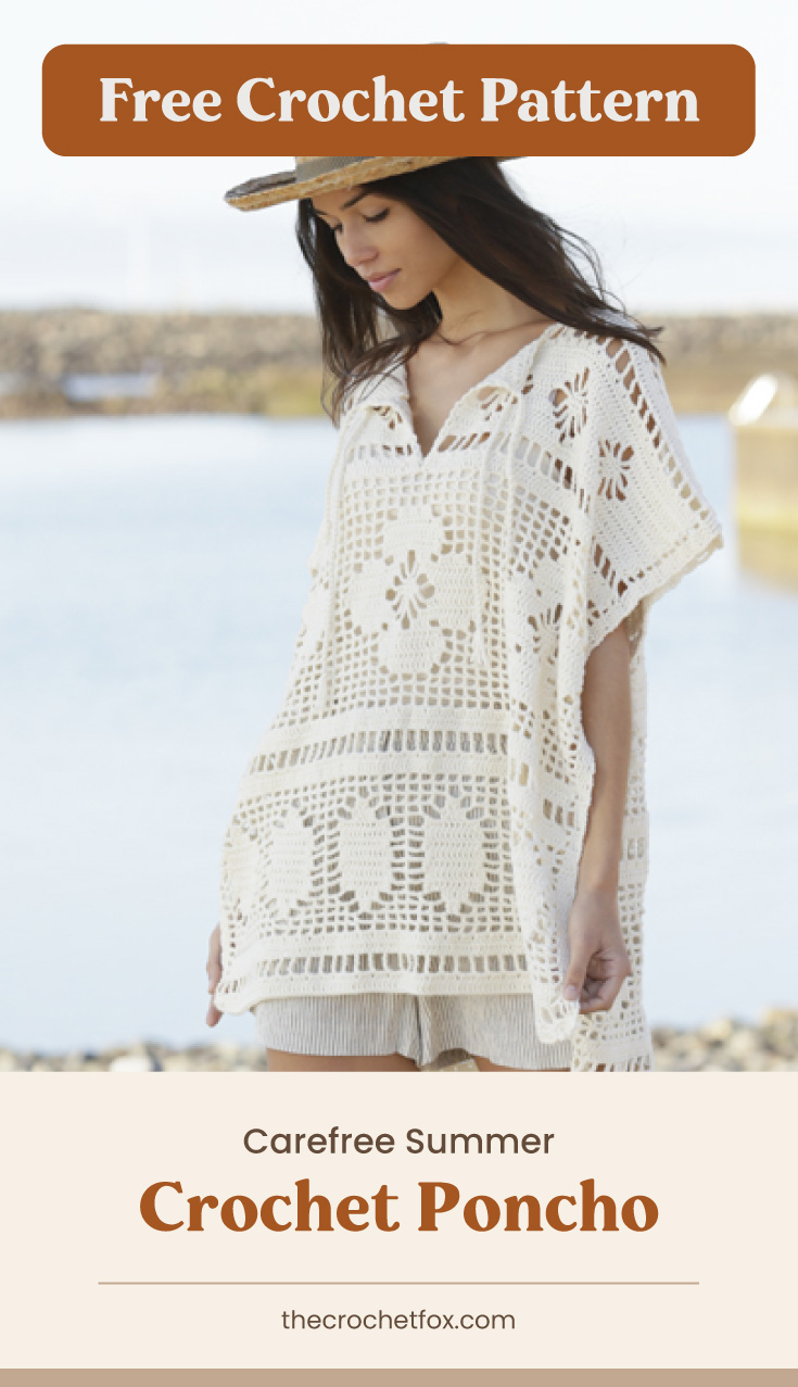 """Text area which says """"Free Crochet Pattern"""" next to a woman wearing a white crocheted lace poncho followed by another text area which says """"Carefree Summer Crochet Poncho, thecrochetfox.com"""""""