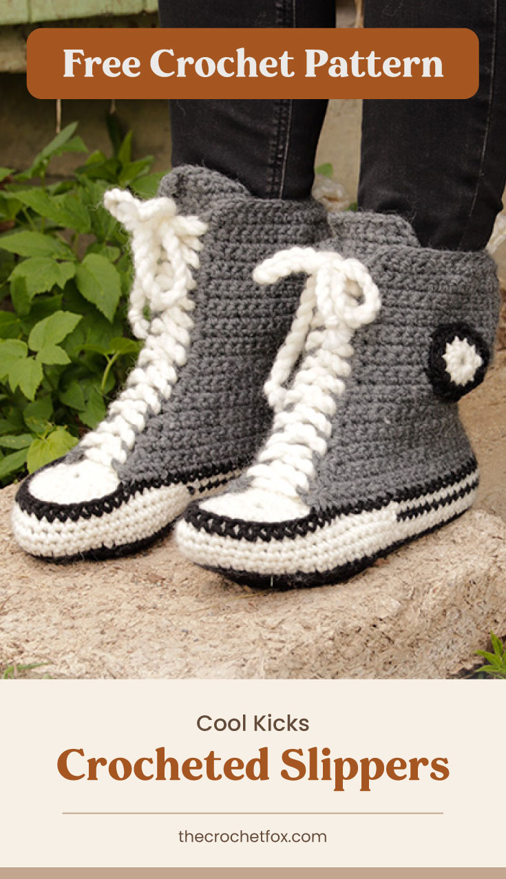 """Text area which says """"Free Crochet Pattern"""" next to a close-up of a pair of feet wearing a sneaker inspired crochet slippers followed by another text area which says """"Cool Kicks Crocheted Slippers, thecrochetfox.com"""""""