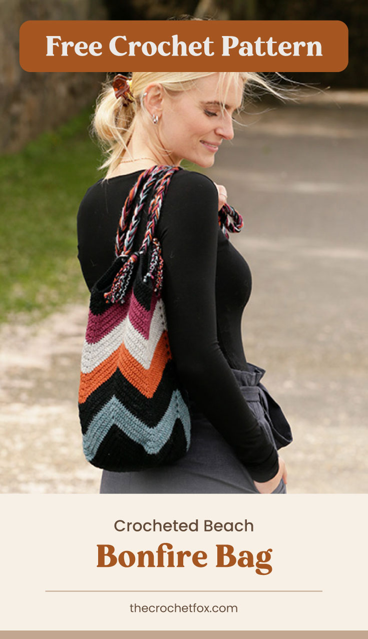 """Text area which says """"Free Crochet Pattern"""" next to a woman wearing a zigzag patterned crochet bag followed by another text area which says """"Crocheted Beach Bonfire Bag, thecrochetfox.com"""""""