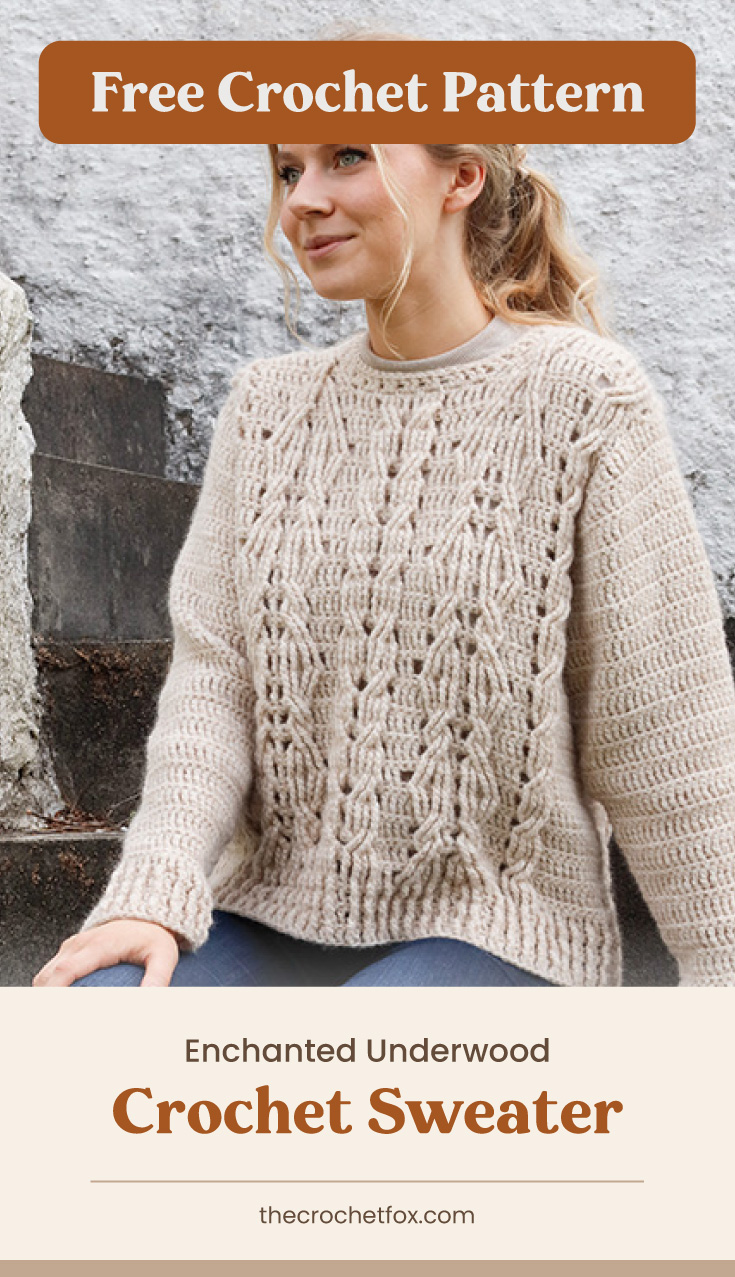 """Text area which says """"Free Crochet Pattern"""" next to a woman sitting on the stairs wearing a light brown crocheted sweater followed by another text area which says """"Enchanted Underwood Crochet Sweater, thecrochetfox.com"""""""