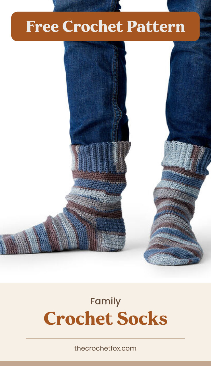 """Text area which says """"Free Crochet Pattern"""" next to a pair of feet wearing striped crochet socks in cool tones followed by another text area which says """"Family Crochet Socks, thecrochetfox.com"""""""