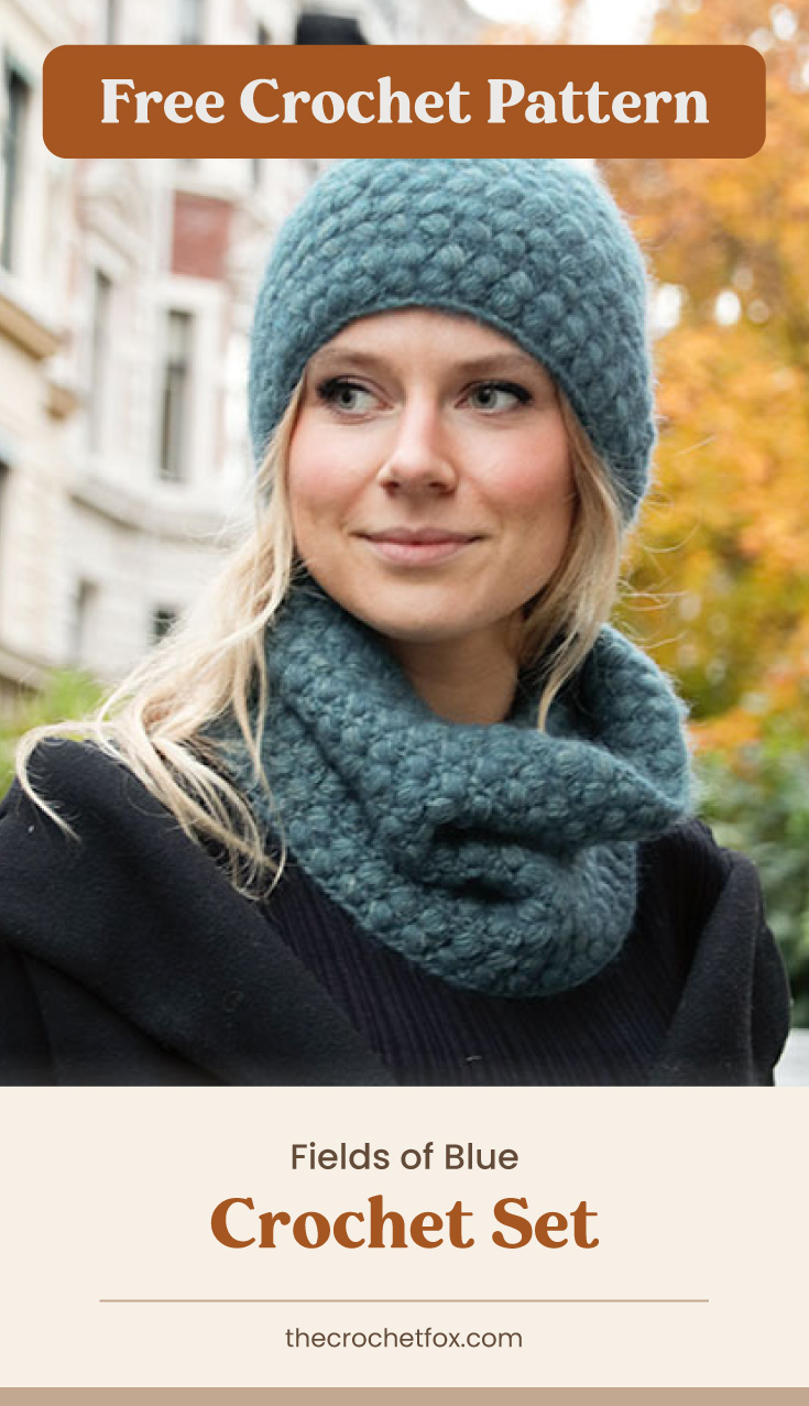 """Text area which says """"Free Crochet Pattern"""" next to a woman wearing a matching set of blue crocheted hat and cowl made with crochet puff stitches followed by another text area which says """"Fields of Blue Crochet Set, thecrochetfox.com"""""""
