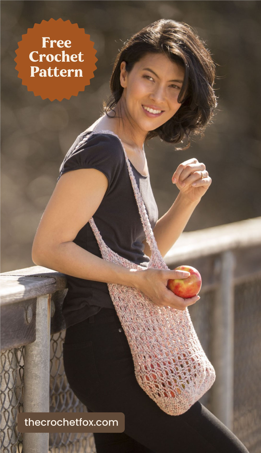 """Text area which says """"Free Crochet Pattern"""" next to a woman carrying a white crochet bag and an apple followed by another text area which says """"thecrochetfox.com"""""""