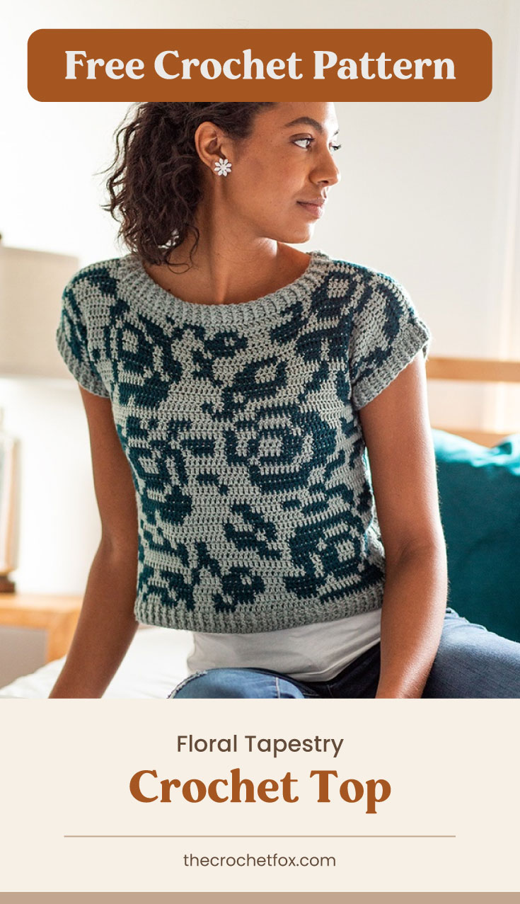 """Text area which says """"Free Crochet Pattern"""" next to a woman sitting on the bed wearing a crocheted top with green floral patterns followed by another text area which says """"Floral Tapestry Crochet Top, thecrochetfox.com"""""""