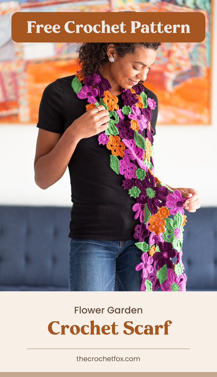 """Text area which says """"Free Crochet Pattern"""" next to woman wearing a floral crochet scarf followed by another text area which says """"Flower Garden Crochet Scarf, thecrochetfox.com"""""""